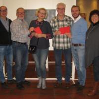 von links: stv. Vors. H. Röttenbacher, 1. vors. R. Gödel, I. Falkner, O. Brandl, Landtagskandidat M. Schneider, stv. Vorsitzende U. Fink