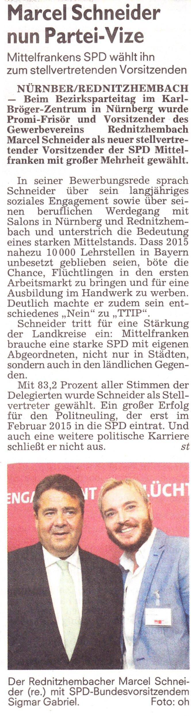 Nominierung Schneider für Mittelfranken