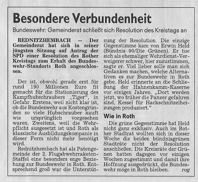 Artikel ST Resolution Bundeswehrstandort Roth 26.02.2011