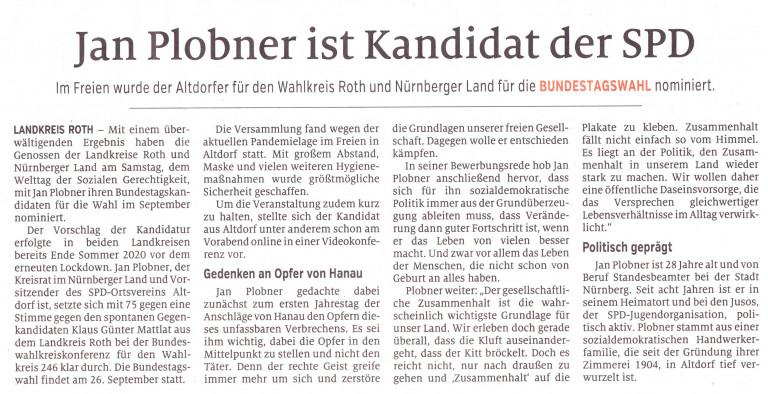 Artikel im Schwabacher Tagblatt, Ausgabe 22.02.21 HST Seite 26