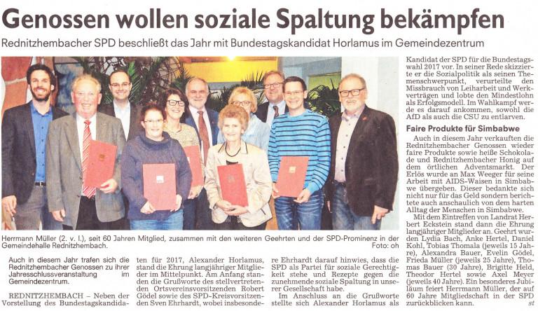 Jahresabschluss 2016 mit unserem Bundestagskandidaten Alexander Horlamus